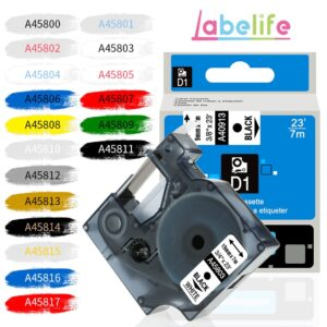 Labelife 1 PC 45800 Multicolor Labeling Tape D1 45803 Cartridge Compatible for Dymo LabelManager Label Maker 280 260P 160 45808