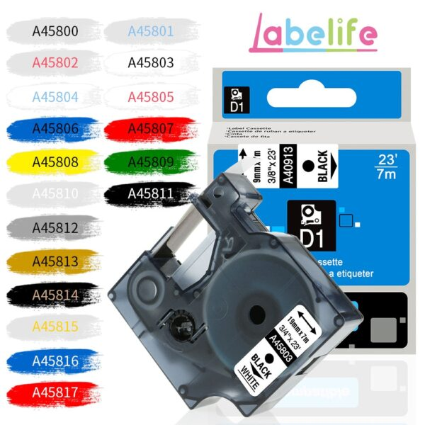 IsMyStore: Labelife 1 PC 45800 Multicolor Labeling Tape D1 45803 Cartridge Compatible for Dymo LabelManager Label Maker 280 260P 160 45808