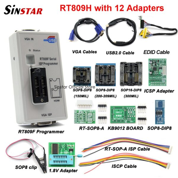 RT809F Serial ISP Programmer with 11 adapters +1.8v adapter+SOP8 test clip+EDID cable Best Quality