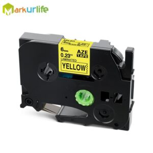 Compatible TZe611 TZe-611 TZ611 Laminated label tape Black on Yellow for Brother P-touch Label Makers Tz-611 (6mm x 8m, 1 Pack)