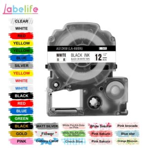 Labelife 1pcs 12mm SS12KW LC-4WBN Compatible Epson LabelWorks LK Tape Standard Black on White For Label Printer LW-300, LW-400