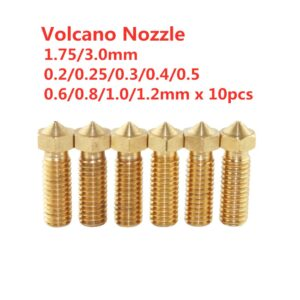 10Pcs 3D Printer Volcano Nozzle 0.2-1mm For 1.75mm High Flow Big Caliber Lengthen Copper nozzle Crater Volcano mouth