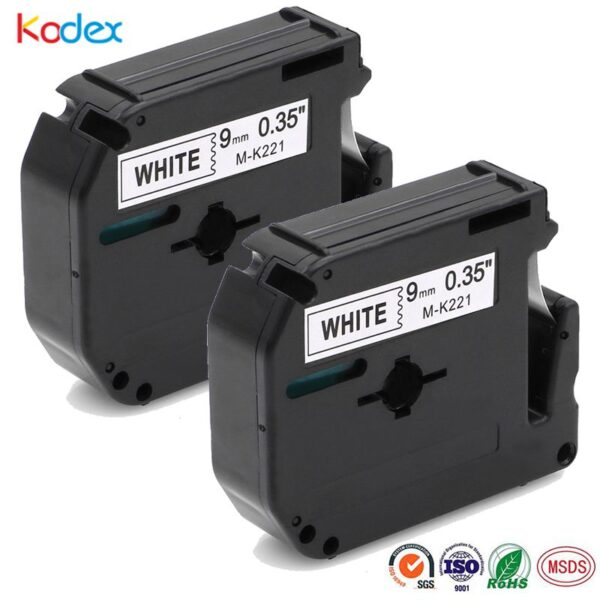Kodex 2pcs Black on White 9mm Compatible Brother P-touch M Tape MK221 M221 M-K221 for PT-65 PT-70 PT-80 PT-85 PT-90 Label Tape