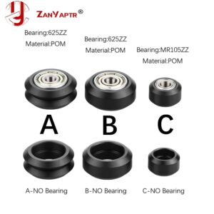 10pcs CNC Openbuilds Plastic wheel POM with 625zz MR105zz Idler Pulley Gear Passive Round Wheel Perlin Wheel V type for V-Slot