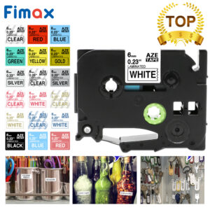 Fimax TZe-211 Tze611 tze-111 Compatible for Brother P-touch Label Tape 6mm Black on White for Brother P touch Printer