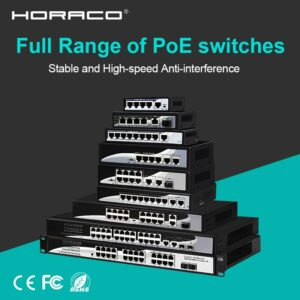 4 8 16 24 Port 10/100M Network Ethernet Poe Switch 48V for CCTV IP Camera Wireless AP 250M IEEE 802.3 af/at OEM Support