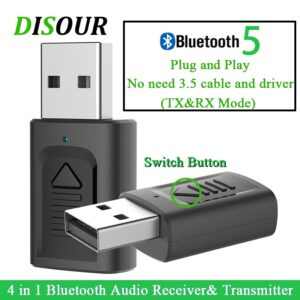 DISOUR USB Bluetooth 3.5mm Jack Audio Adapter 4 IN 1 Wireless Bluetooth Receiver Transmitter For TV Car PC NEWEST Stereo Dongle (Bluetooth 4 in 1)