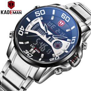 KADEMAN Fashion Sport Watch Men Quartz LCD Digital Mens Watches Top Brand Luxury Waterproof Army Military Full Steel Wristwatch