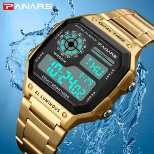 PANARS Watch Men Sport Digital Watches Chronograph Waterproof Watch Stainless Business Wristwatches Male Clock Relogio Masculino