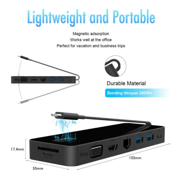 iFory Type C Hub,USB C Adapter with HDMI, Ethernet, 2 USB 3.0, SD/TF Card Reader, 100W Pd Charging,Type C Ports for MacBook Pro