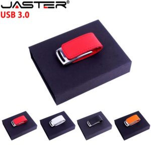 JASTER USB 3.0 hot selling Fashion creative 4-color leather USB+BOX real capacity 4GB 8GB 16GB 32GB 64GB USB flash drive