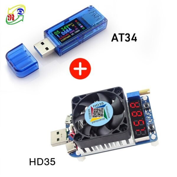 RD AT34 AT35  USB 3.0 color LCD Voltmeter ammeter voltage current meter multimeter battery charge power bank USB Tester