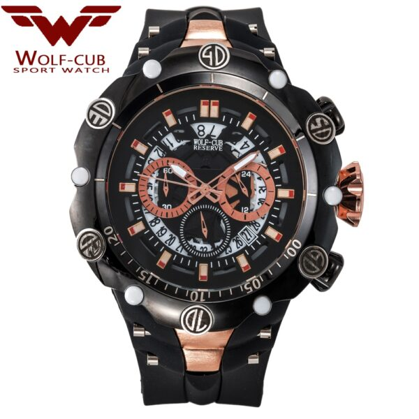WOLF-CUB Big Dial Men's Sports Watches Waterproof Red Dial Man Steel Chronograph Quartz Wrist Watch Military Relogio Masculino