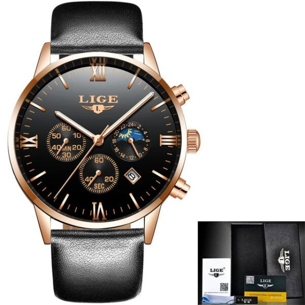 LIGE Men Watch Chronograph Sport Mens Watches Top Brand Luxury Waterproof Full Steel Quartz Gold Clock Men Relogio Masculino