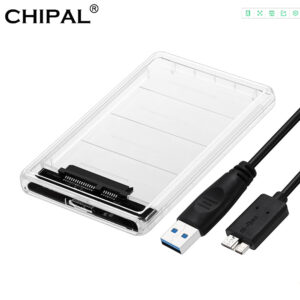 "CHIPAL 5Gbps 2.5"" Transparent HDD Case SATA 3.0 to USB 3.0 External Hard Disk Drive SSD Enclosure Box Support 2TB UASP Protocol"