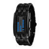 Luxury Watch Lovers Men Women Stainless Steel Blue Binary Luminous LED Electronic Display Sport Watches Fashion Women Watches