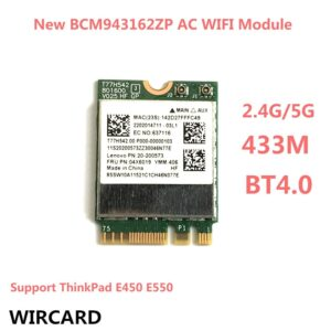 BCM943162ZP Dual Band Wireless-AC 2.4G/5G Wifi Bluetooth 4.0 NGFF 802.11ac Card for ThinkPad E450 E550 FRU:04X6019