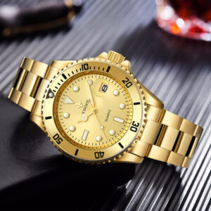 2020 WWOOR Gold Watches For Men Luxury Quality Mens Auto Date Watch Fashion Full Steel Waterproof Quartz Clock Relogio Masculino