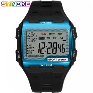 SYNOKE Fashion Men's Square Digital Watch Luminous Outdoor Sports Waterproof Man Watch LED Display Multifunctional Wristwatch