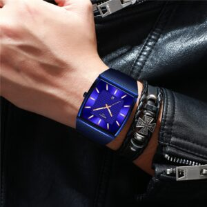 Blue NIBOSI Chronograph Square Clock Custom Design Sport Men Watches Waterproof Creative Watch Man Wristwatch Relogio Masculino