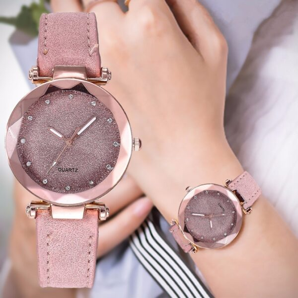 Casual Women Romantic Starry Sky Wrist Watch Leather Rhinestone Montre Femme