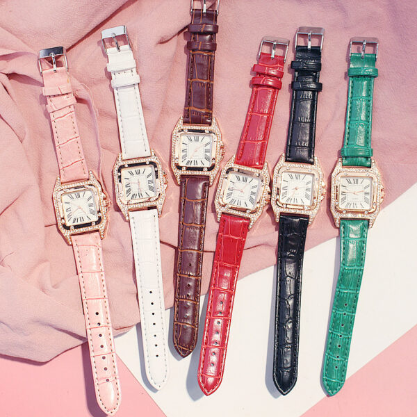 Women Diamond Watch Starry Square Dial Bracelet Watches Ladies Leather Band Quartz Wristwatches Female Clock