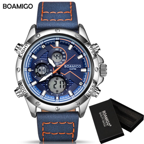 BOAMIGO Fashion Mens Watches for men Military Digital analog Quartz Chronograph sport Watch  Waterproof clocks