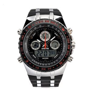 luxury brand STRYVE S8002 Wristwatches Montre Homme Multifunction Sports Watches Army Military Heavy Dial Alarm Led Analog Clock