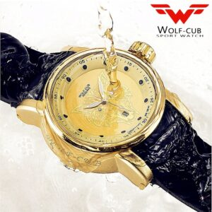 IsMyStore: Original design personalized sports gold watch man dial Wolf head Rhinestone Japan original calendar movement USA Wolf-cub