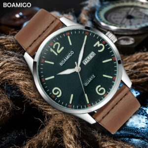 2019 boamigo top luxury brand men military fashion sport business quartz watch man casual brown leather wristwatches waterproof