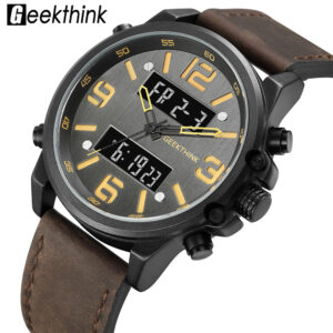 2019 Military Men's Sports Watches Quartz Man Leather Band Relogios Masculino Digital Dual Movement