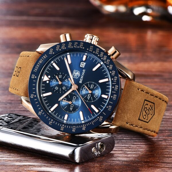 BENYAR Men Watches Brand Luxury Silicone Strap Waterproof Sport Quartz Chronograph Military Watch Men Clock Relogio Masculino