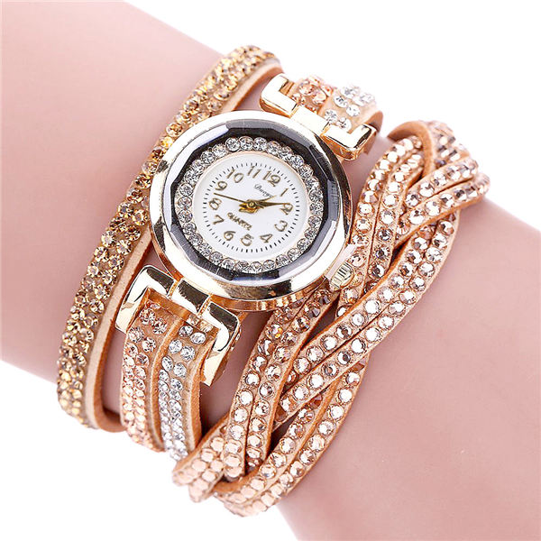 Fashion Casual Gold Quartz Women Rhinestone Watch Braided Leather Bracelet Watch Gift Ladies Wristwatch Relogio Feminino Gift #b