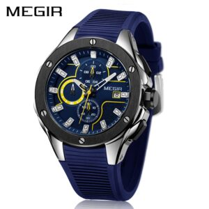 MEGIR Men Sport Watch Luxury Waterproof Luminous Chronograph Quartz Army Military Watches Clock Men