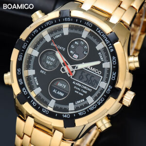 BOAMIGO Brand Watches Military Men Sport Watches Auto Date chronograph gold Steel Digital Quartz Wristwatches  Relogio Masculino