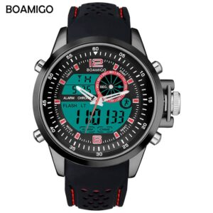 BOAMIGO brand men sports watches dual time digital watch rubber analog quartz watch  swim chronograph wristwatches reloj hombre