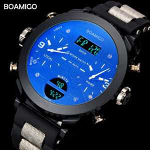 BOAMIGO 3 Time Zone Military Sports Watches LED Digital Quartz Wristwatches erkek kol satleri relogio masculino