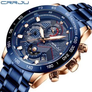 CRRJU Fashion men watches Top Luxury Brand Chronograph Wristwatch male Waterproof Sport Quartz watch men clock relogio masculino