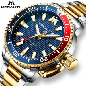 MEGALITH Gold Steel Watches Men Luminous Diving Sports Quartz Watch Men Waterproof Wrist Watch With Box