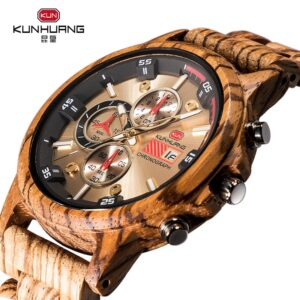 KUN Wooden Quartz Wristwatch Men's Sport Watch Business Wood Male Watches Man Bracelet Husbands Boss Gift Chronograph Watch Men